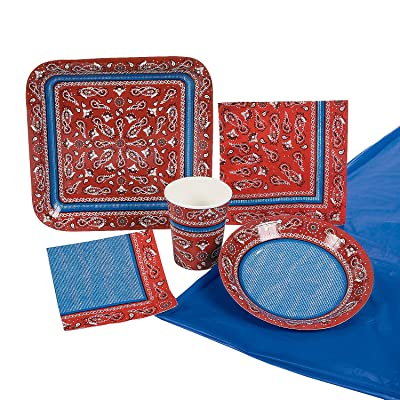 Red Bandanna Party Pack (57 piece set) Western Cowboy Party Supplies: Toys & Games