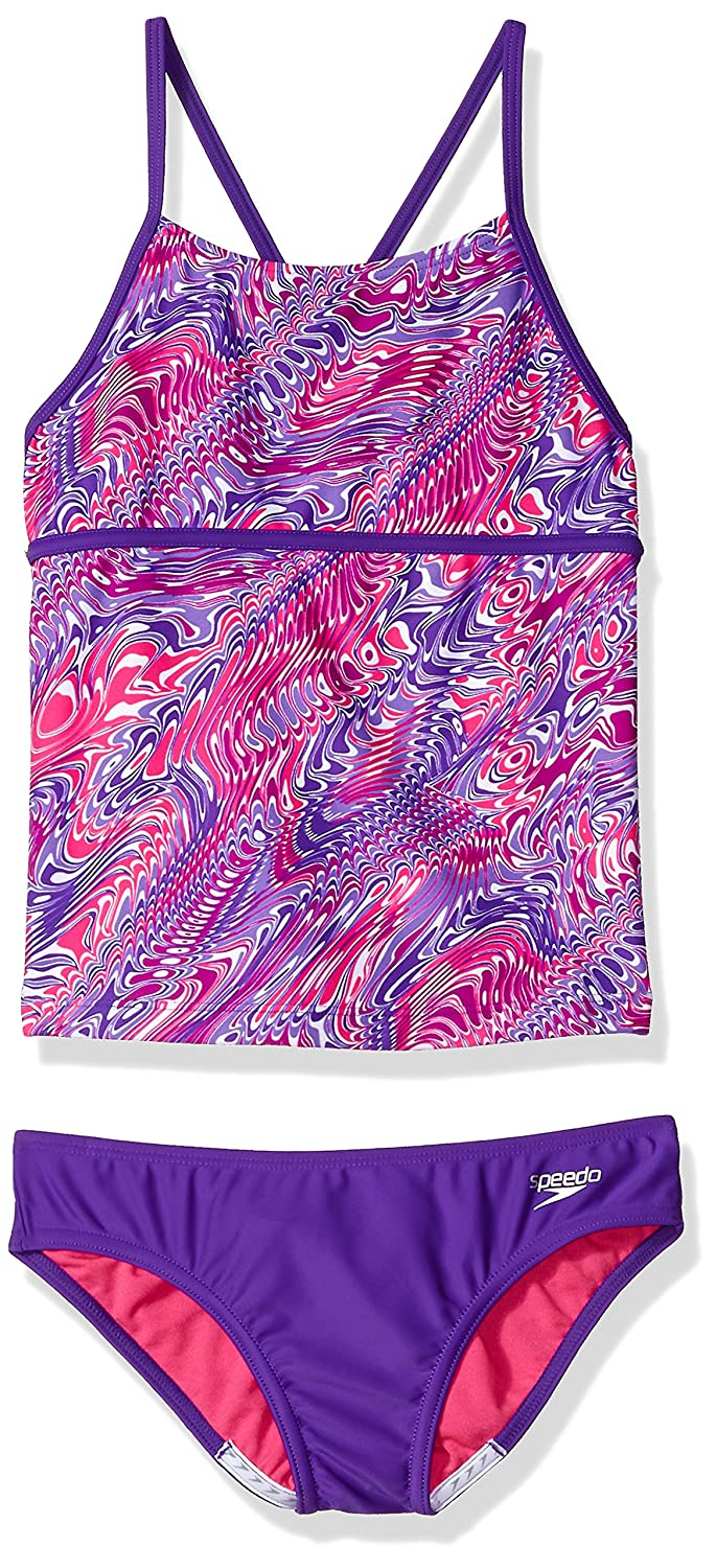 Speedo Girls Twirly Swirl Strappy Tankini Two Piece Speedo Swimwear 7714803-P