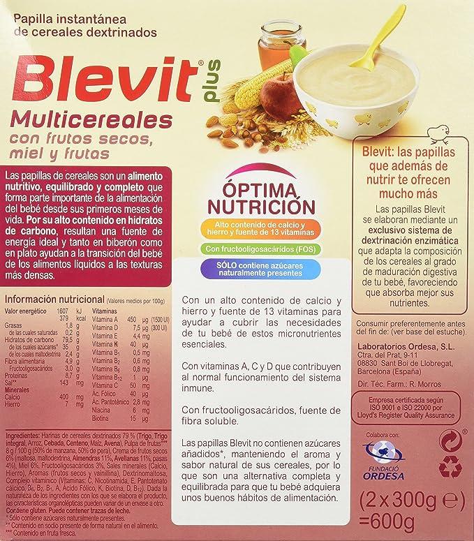 Blevit Plus Multicereales con Frutos Secos - Paquete de 2 x 300 gr - Total: 600 gr: Amazon.es: Alimentación y bebidas