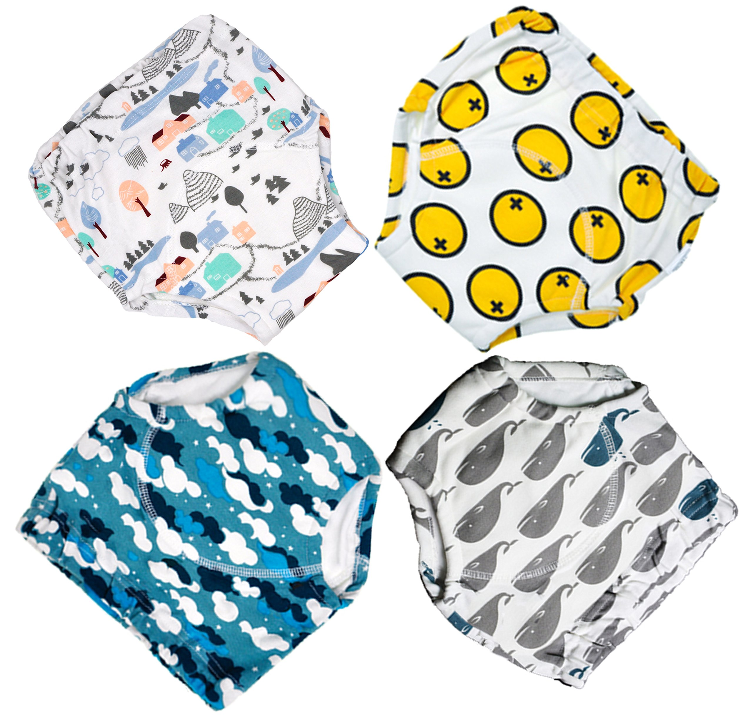 MooMoo Baby  4 Pack Potty Training Pants for Baby and Toddler Boys- 3T-L