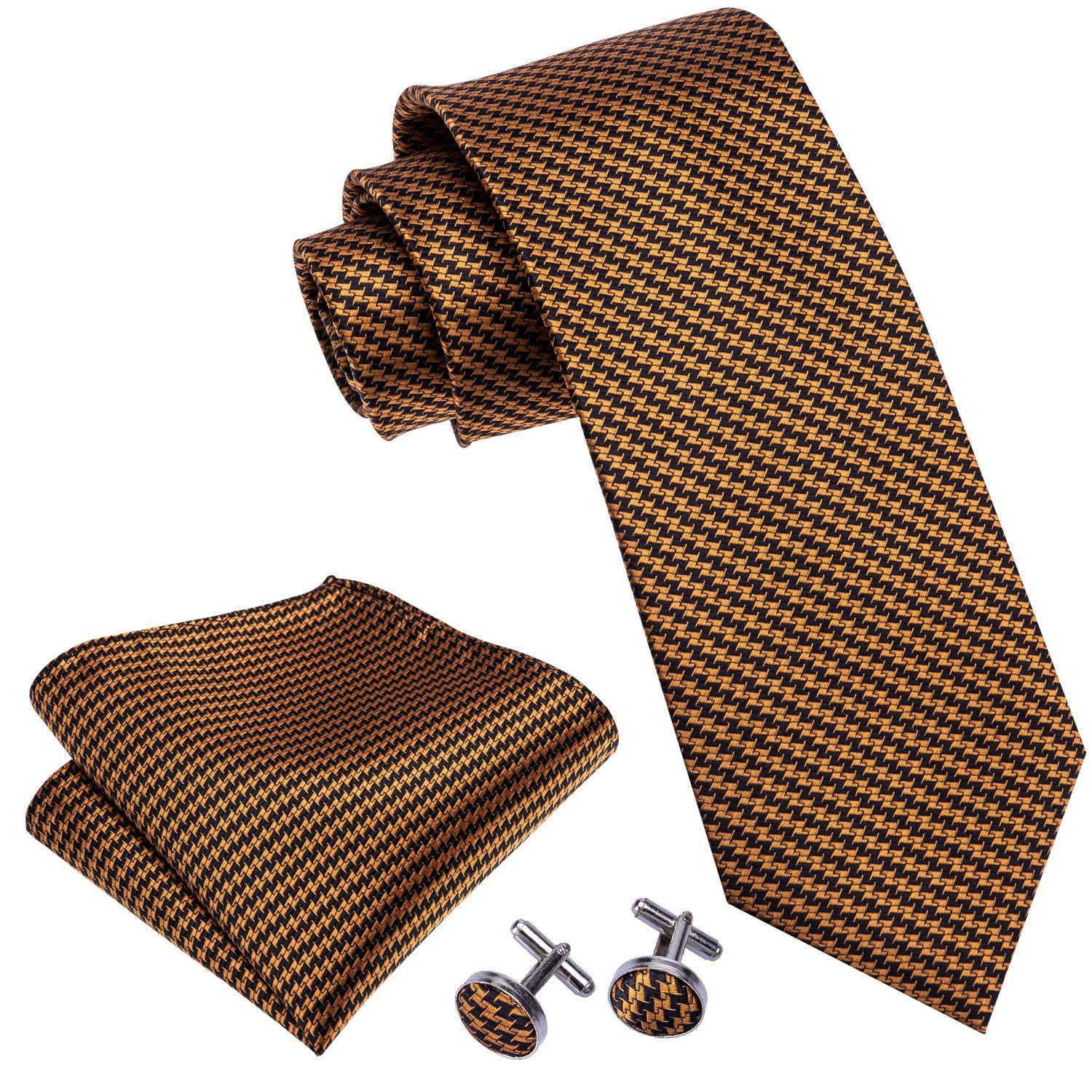 Plaid Ties Check Necktie Orange Handkerchief Cufflinks for Men Tie Set