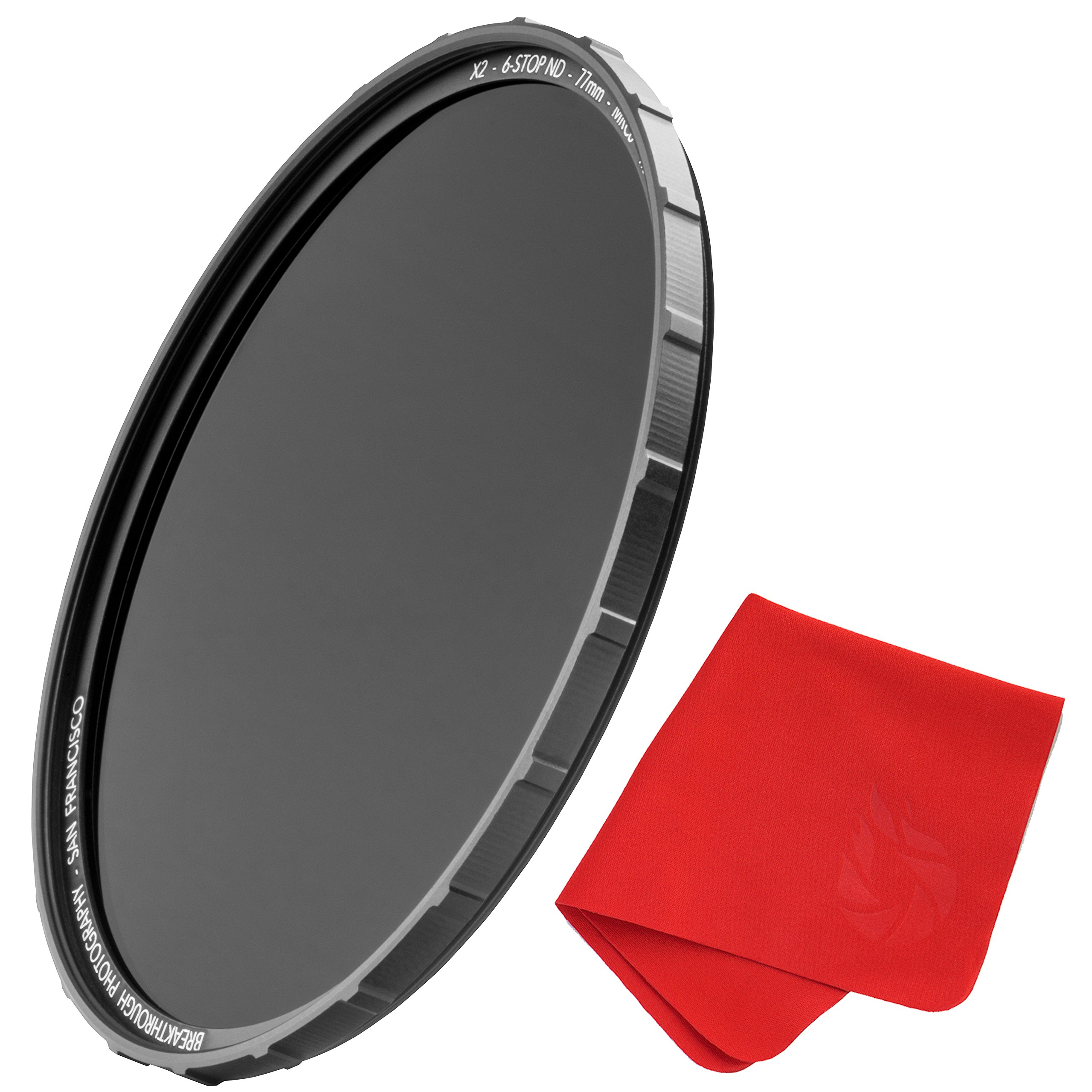 77mm X2 6-Stop ND Filter for Camera Lenses - Neutral Density Professional Photography Filter with Lens Cloth - MRC8, Nanotec, Ultra-Slim, Weather-Sealed by Breakthrough Photography by Breakthrough Photography
