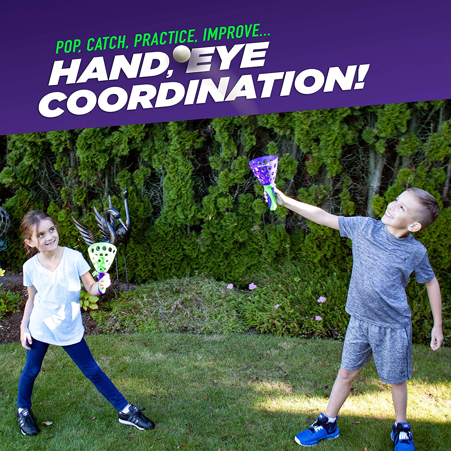 2 Pack of Two Launchers Each Purple//Green Geosapce Geospace 12513 The Original Pop N Catch Game
