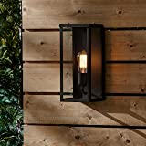 """Rivet Mid-Century Clear Glass and Metal Wall Sconce with Bulb, 14""""H, Bronze"""