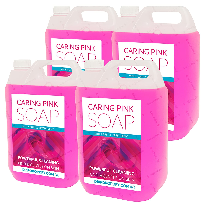 4 x 5L Caring Pink Soap   PH neutral, Moisturising, Peach Fragrance   High Foam   For Bulk Fill Soap Dispensers DripDropDry