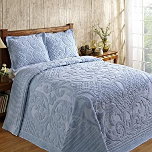 Better Trends Ashton Collection Is Super Soft And Light Weight In Medallion Design 100 Pecent Cotton Tufted Unique Luxurious Machine Washable Tumble Dry, King Bedspread, Blue