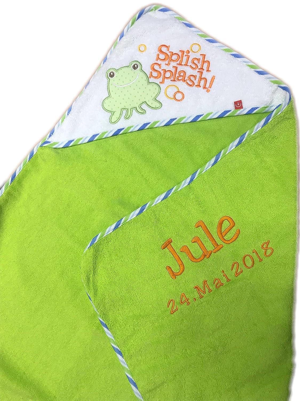 Toalla con capucha bordada con nombre y fecha de nacimiento)/76 x 76 cm/suave/1 A calidad/100% Cotton Apfelgruen - FROSCH: Amazon.es: Bebé