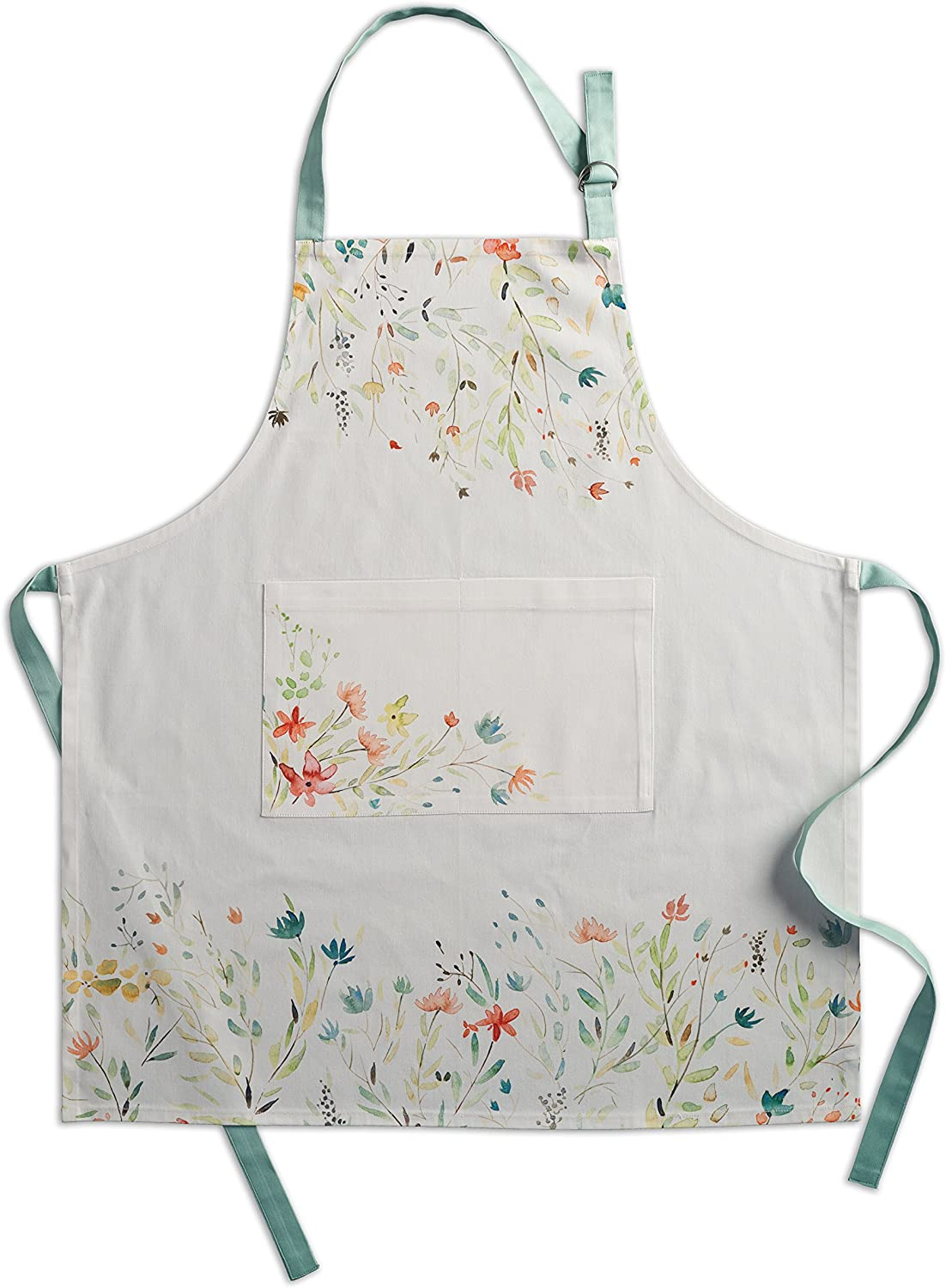 Maison d Hermine Floral Love 100/% Cotton 1 Piece Apron with an Adjustable Neck /& Hidden Centre Pocket with Long Ties for Women//Men Chef 27.50x31.50