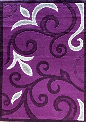 emirates Modern Floral Area Rug Purple Grey Black Gray White Contemporary Design 525 7 Feet 9 Inch X 10 Feet