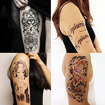 Gifttastto 4 Sheets Temporary Tattoos Of Gods Eye Koi Fish Words Sexy Lady With Gift