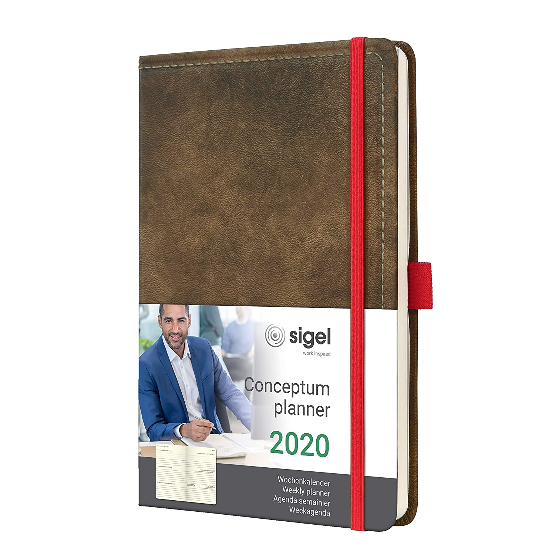 SIGEL C2055 Agenda semanal 2020 Conceptum, tapa dura,13,5 x 20,3 cm, aspecto vintage de cuero marrón