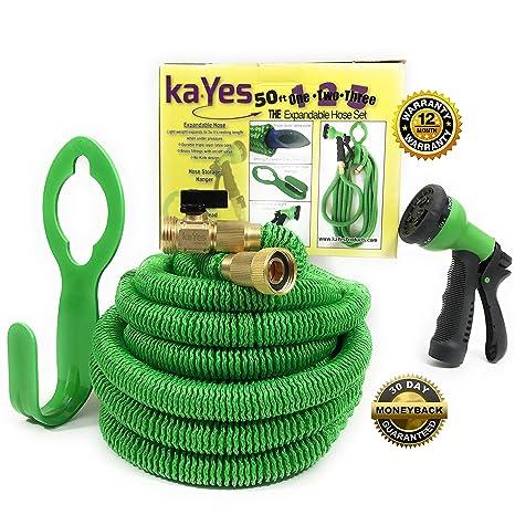 KaYes Expandable Hose Kink Tangle Free   Garden Hose Storage Hanger Lawn  Spray Nozzle 3 Pc