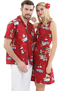 1cab50d6 Couple Matching Hawaiian Luau Cruise Christmas Outfit Shirt Dress Santa Red