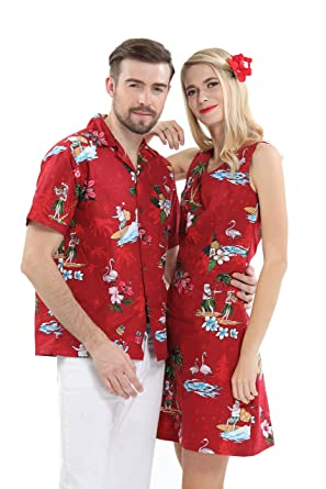 Couple Matching Hawaiian Luau Cruise Christmas Outfit Shirt Dress Santa Red  Men 2XL Women S ca082f9d5db8