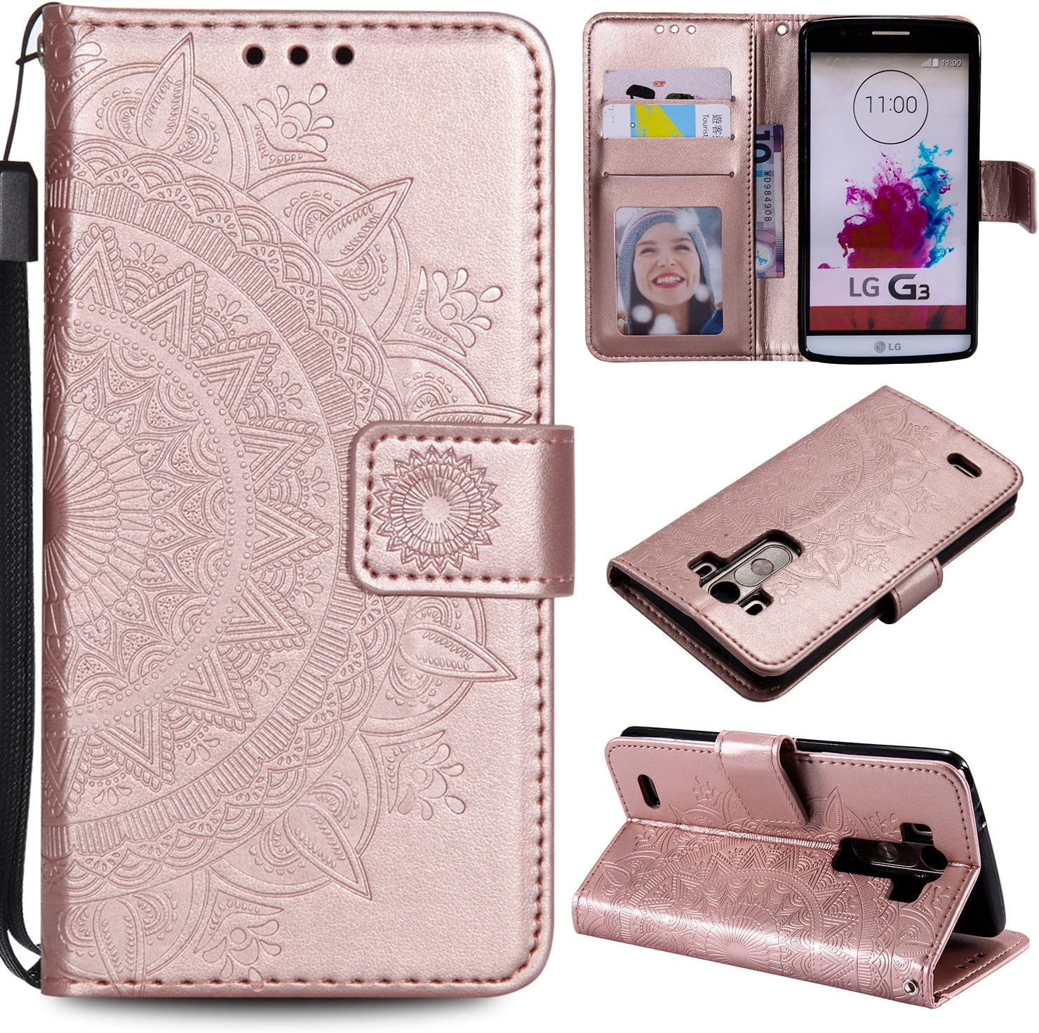 NEXCURIO [Embossed Flower] LG G3 Wallet Case with Card Holder Folding Kickstand Leather Case Flip Cover for LG G3 - NEHHA11000 Rose Gold