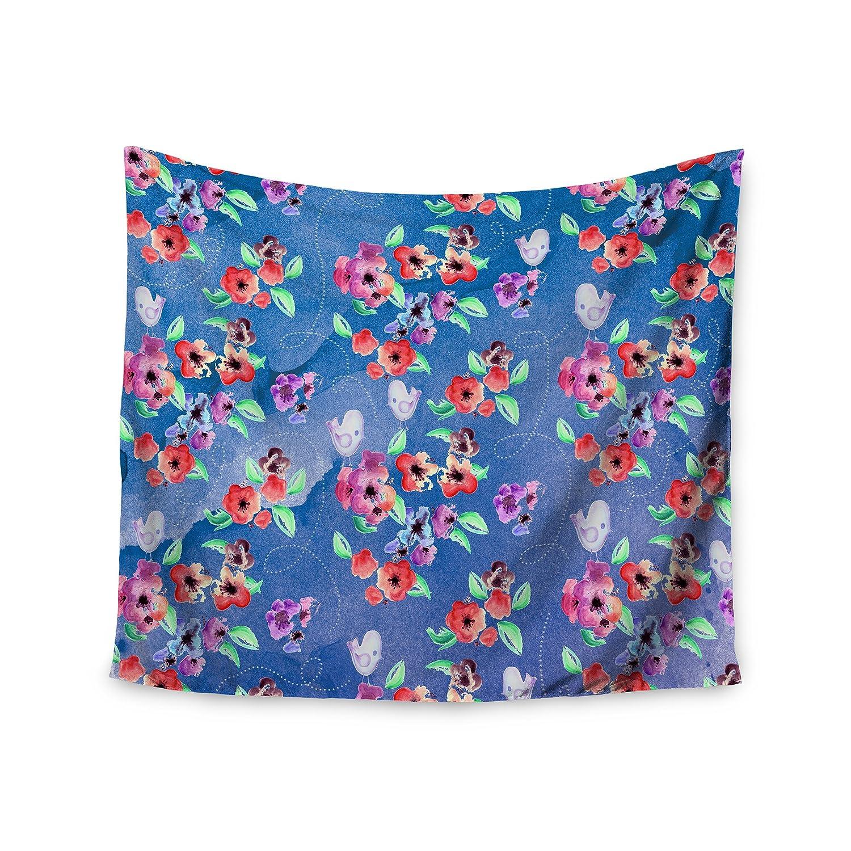 KESS InHouse Zara Martina Mansen Signs of Spring Blue Red Wall Tapestry 68 x 80