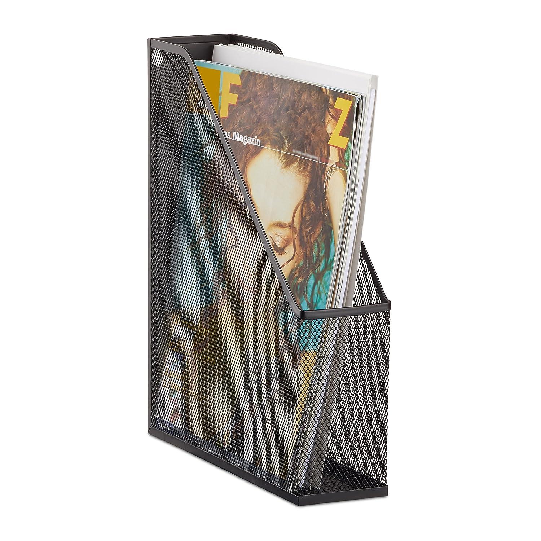 Relaxdays Portariviste Scrivania per Documenti Ufficio, Occhielli Fissaggio a Parete, Metallo, Nero, A4-C4 10022494_46