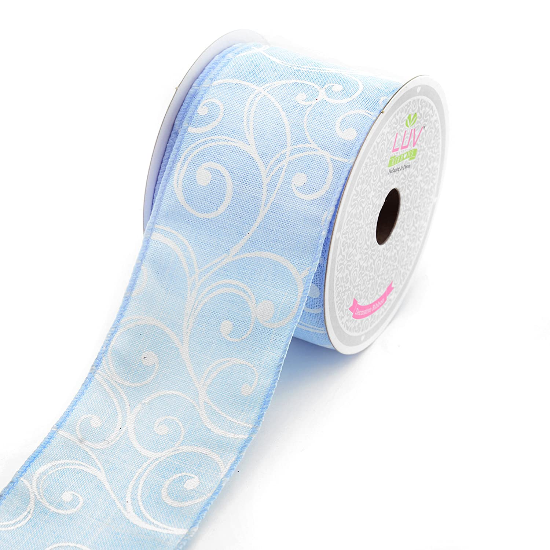 Canvas 2-1//2-Inch Stylish Swirl Ribbon Print Blue LUV RIBBONS by Creative Ideas 10 Yards
