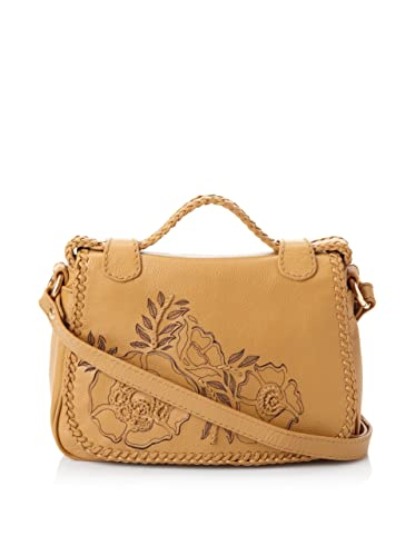 f4b5e8be13 Isabella Fiore Tan Leather Floral Austin 2 Miley Saddle Bag ...