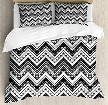Chevron Duvet Cover Set King Size By Lunarable, Hand Drawn Tribal Cultures  Inspired Sketch With