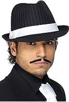 Smiffys Déguisement Adulte, Chapeau Trilby, avec rayures et bande blanche, Taille unique, Couleur: Noir, 36493