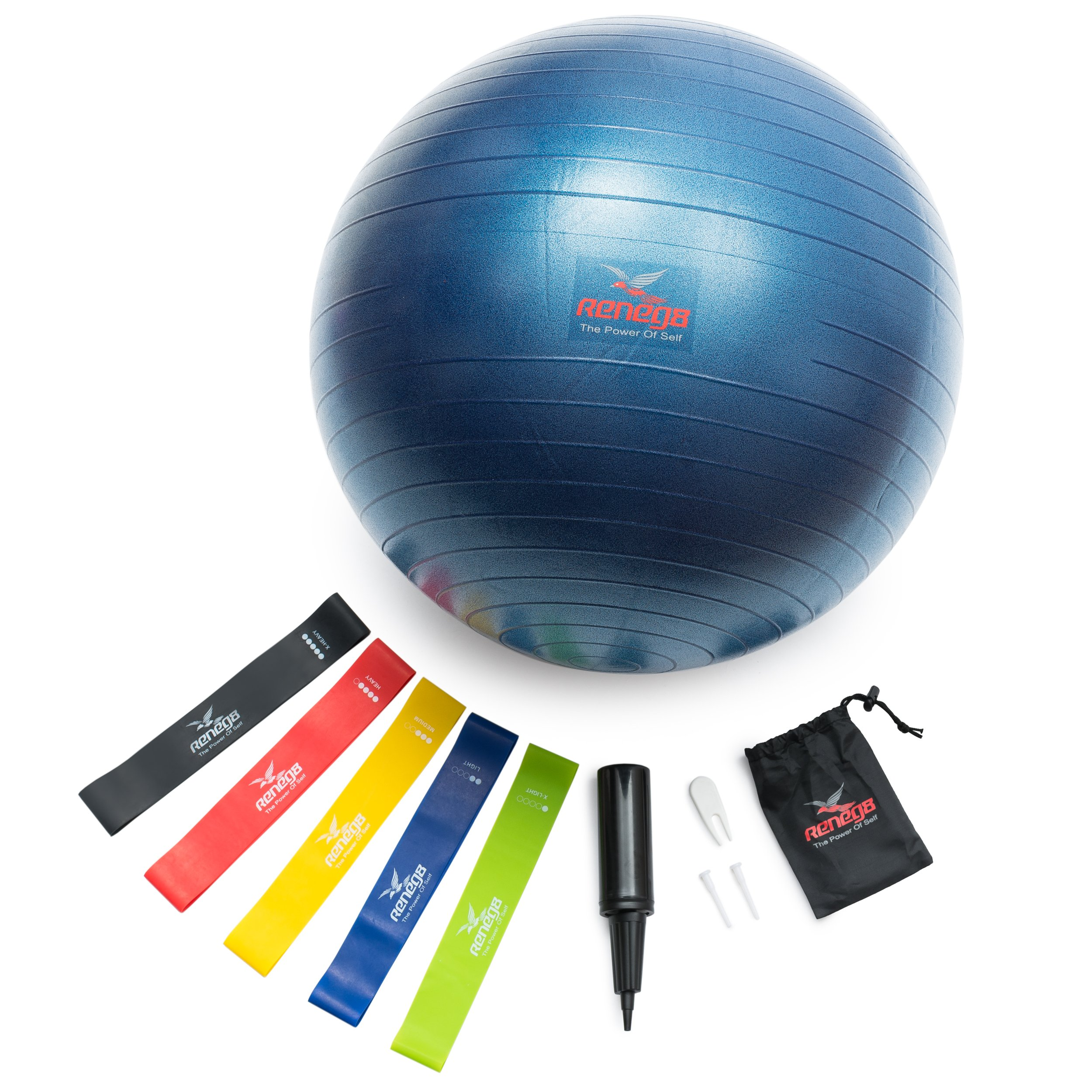 Yoga Exercise Ball and Resistance Bands Set, for The Ultimate Home Workout Experience by RENEG8 - Includes Set of 5 Loop Bands & Heavy Duty Stability Ball with Non Slip Anti Burst Design
