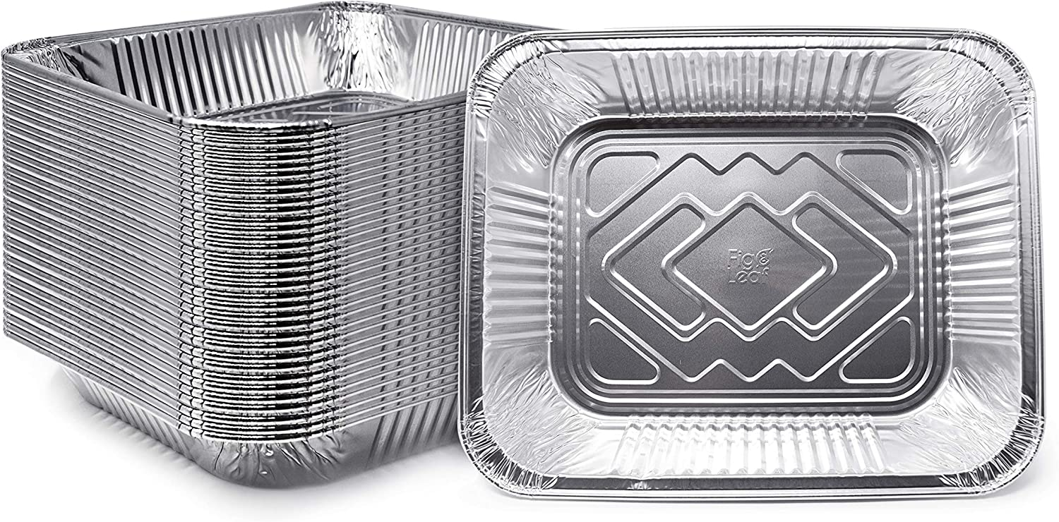 "(35 Pack) Premium 9"" x 13"" Aluminum Pans l Half Size Deep Steam Table Pan l Extra Heavy-Duty l Disposable Chafing Foil for Roasting, Baking, or Cooking"