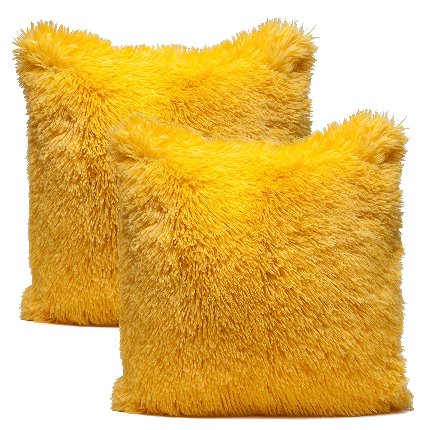 Chanasya Super Soft Long Shaggy Chic Fuzzy Fur Faux Fur Warm Elegent Cozy Yellow Throw Pillow ...