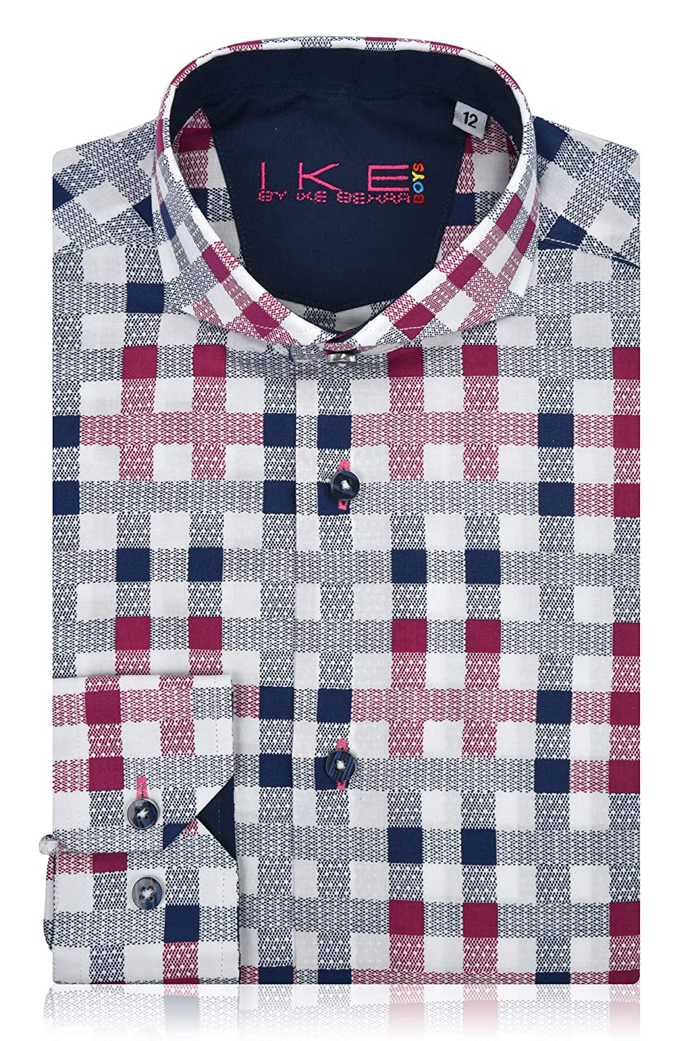 White Checker Box - Ike Behar Boys Dress Shirt Long Sleeve Button Down Navy Burgundy Sizes 4-20