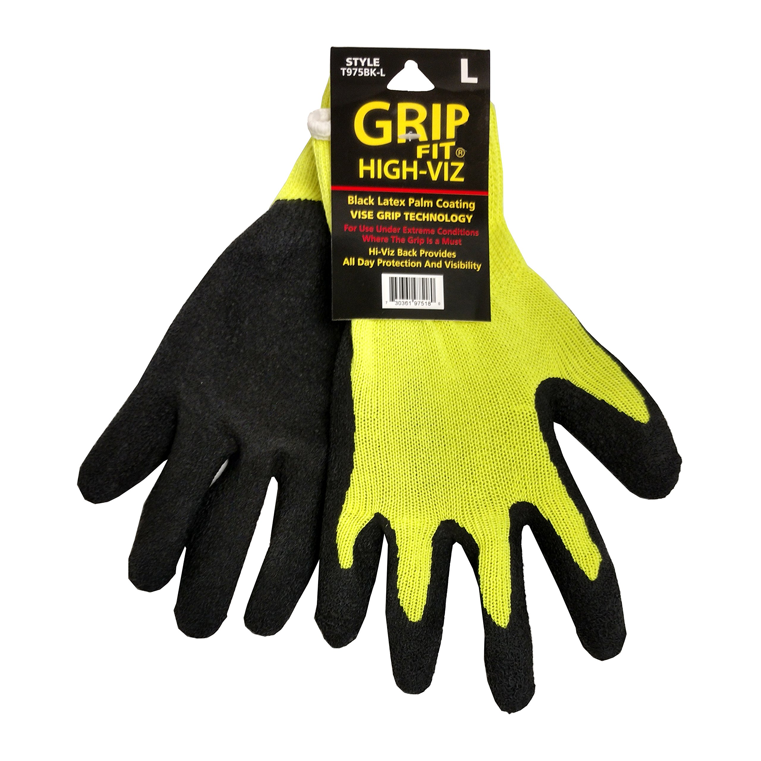 Knit Glove Rubber Coated Hi-Viz Knit Glove, Case of 144 Pair, X-Large