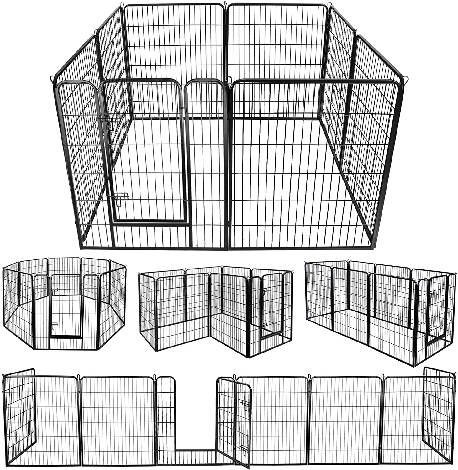 ZENY Foldable Metal Exercise Pen Pet Playpen Puppy Cat Exercise Fence Barrier Playpen Kennel – 16 Panels 8 Panels 31.5 W x 39.4 H – 8 Panels
