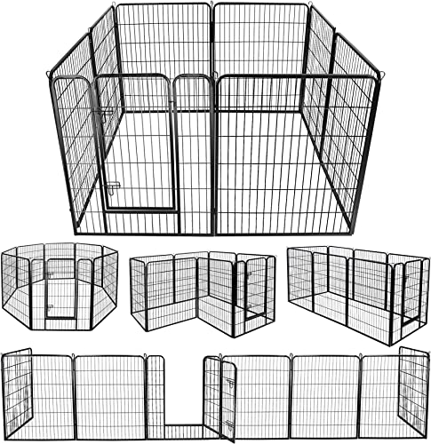 ZENY Foldable Metal Exercise Pen Pet Playpen Puppy Cat Exercise Fence Barrier Playpen Kennel – 8 Panels 31.5 W x 39.4 H