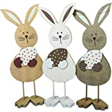 khevga Easter decoration - Easter bunny rabbit figurine made of wood SET of 3