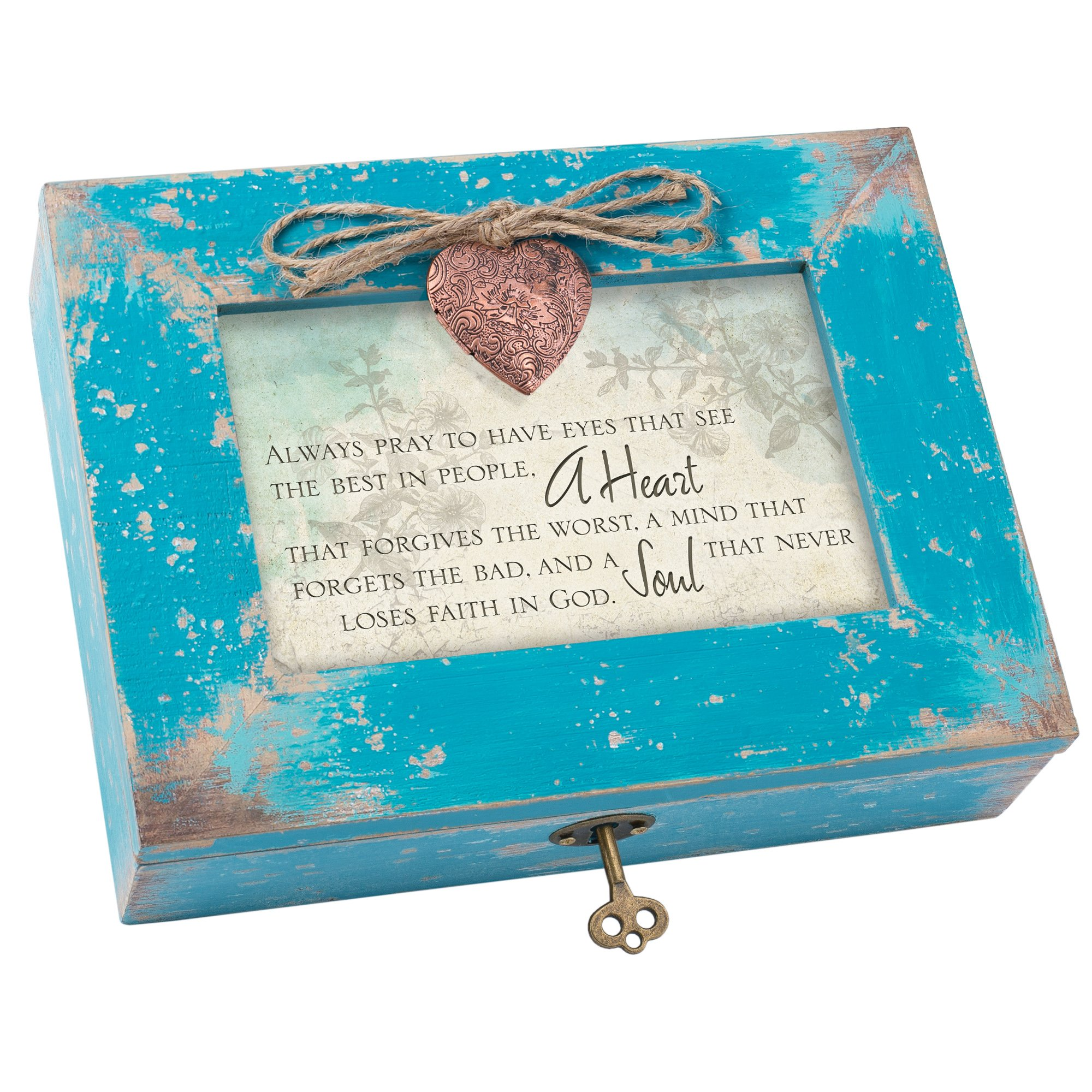 Cottage Garden Eyes See Heart Forgives Teal Wood Locket Jewelry Music Box Plays Tune We Have a Friend in Jesus