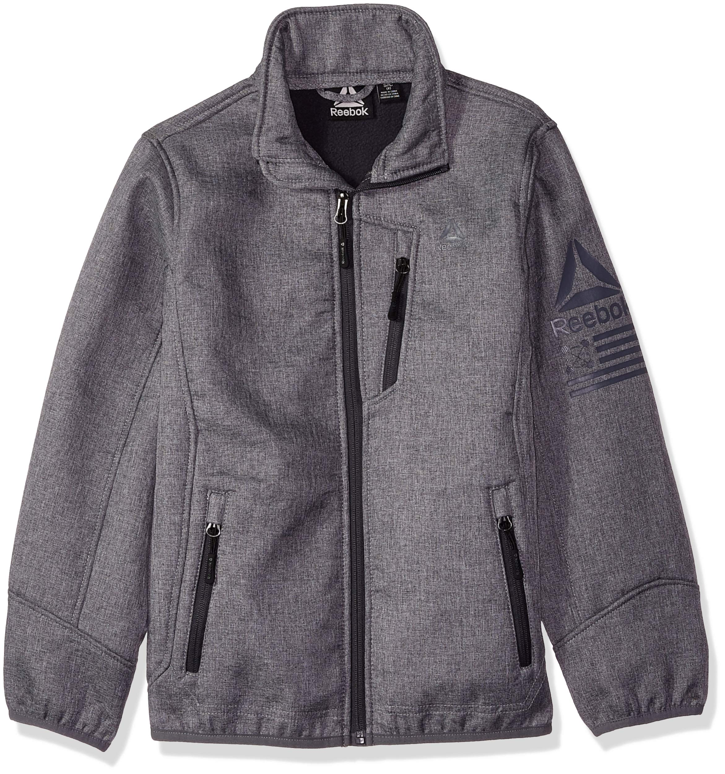Reebok Boys' Little Active Softshell Jacket with Sleeve Detail, Heather Grey 4 by Reebok (Image #1)