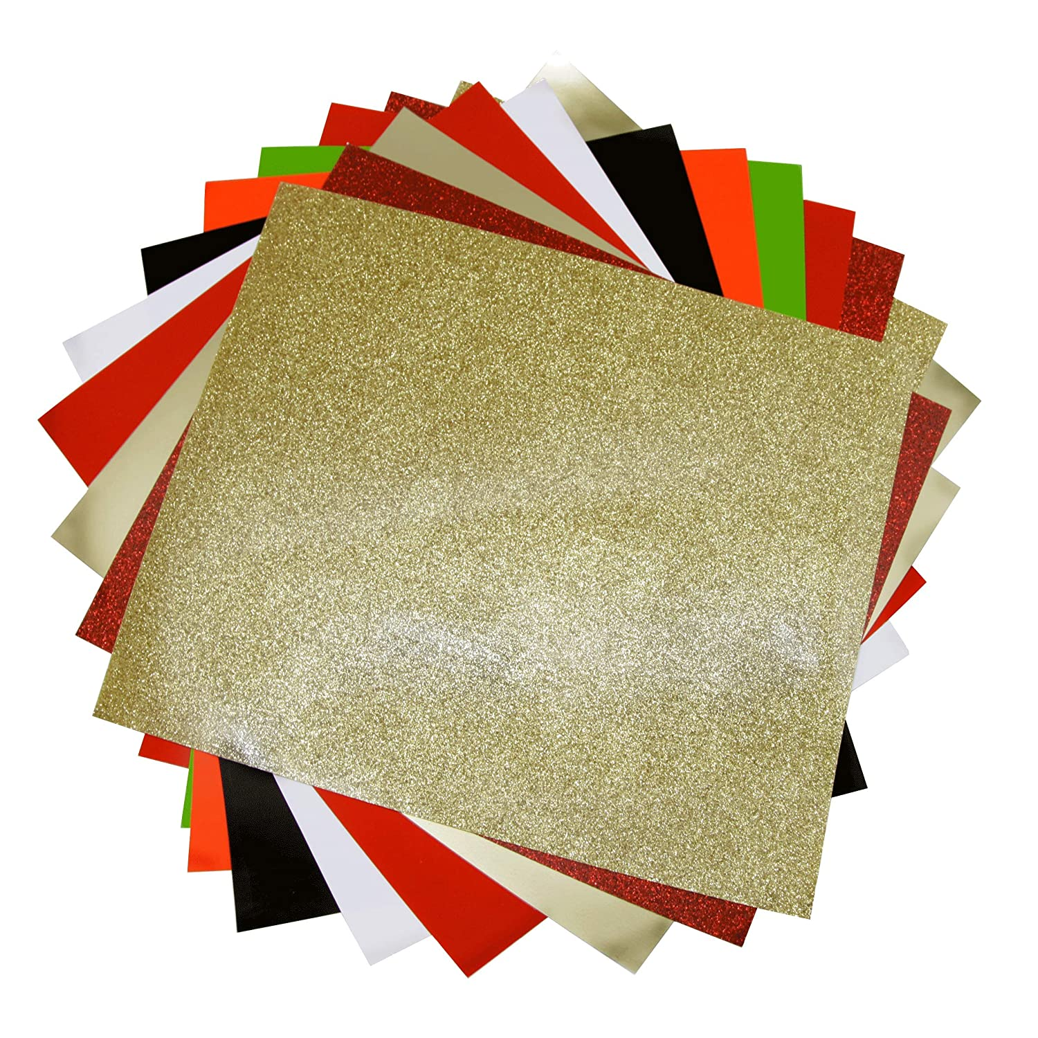Craftweeks HTV RED & GOLD THEME (10 x 12, 12 pack 8 assorted colors w/ Glitter) Heat Transfer Vinyl Sheet Bundle for DIY Gift Tees, Matching Clothes Outfits for Twins, Family, Couples Fumikr Co. Ltd.