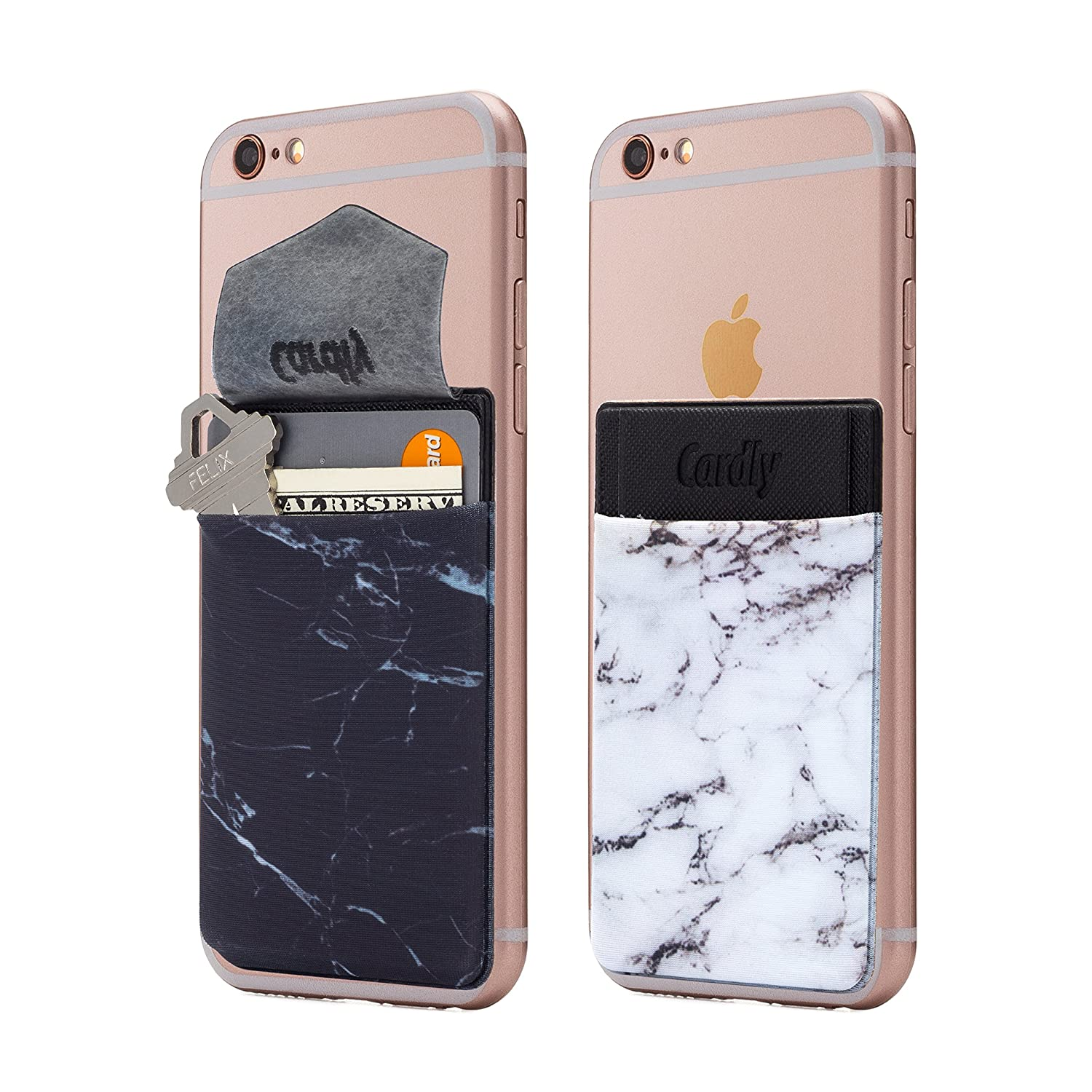 (Two) Secure Marble Cell Phone Stick On Wallet Card Holder Phone Pocket for iPhone, Android and All Smartphones. (Black and White) Cardly