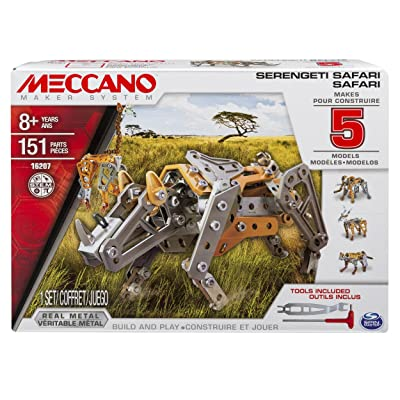 Meccano, 5 Model Building Set, Serengeti Safari, 151 Pieces, For Ages 8+, STEM Construction Education Toy: Toys & Games