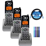 Motorola ML1200 DECT 6.0 Expandable 4-Line Cordless Handsets with Digital Receptionist and Voicemail (3-Pack) Bundle with Blu