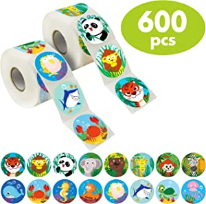 "600 Pcs Round Zoo Marine Animal Stickers in 16 Designs with Perforated Line Expanded Version (Each measures 1.5"" in diameter)"