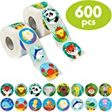 "600 Pcs Round Zoo Marine Animal Stickers in 16 Designs with Perforated Line Expanded Version (Each measures 1.5"" in…"
