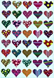 Valentines Stickers Heart shape - Assorted Patterns hearts sticker in Red, Pink, Blue, Gold, Green , Purple, Stars, Flowers, Stripes and Dots - Permanent adhesive - 200 pack - By Royal Green