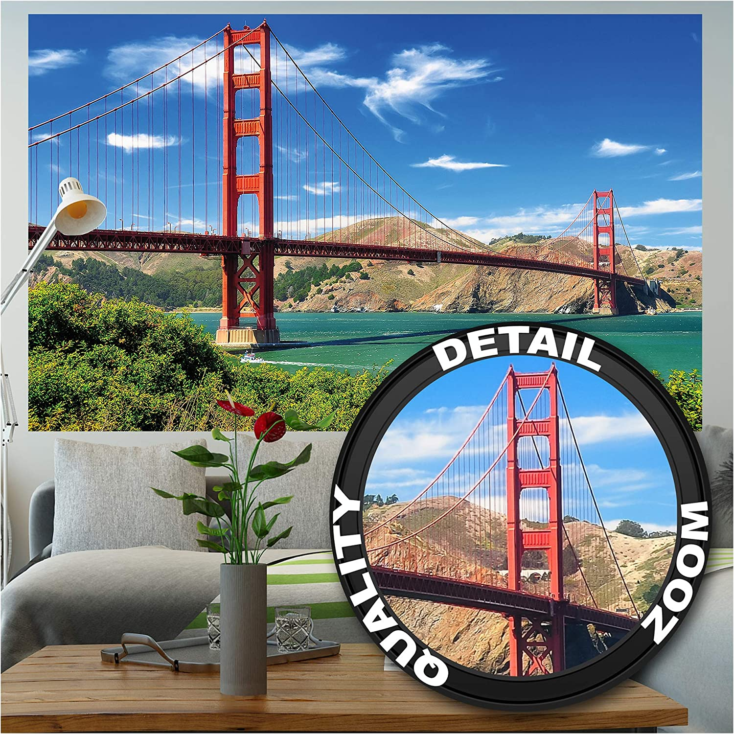 Amazon Com Great Art Photo Wallpaper Golden Gate Picture Decoration Usa Architectural Site San Francisco Monument Suspension Bridge West Coast Image Decor Wall Mural 82 7x55 1in 210x140cm Home Improvement