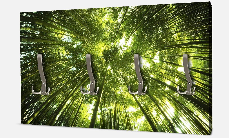 wandmotiv24 Garderobe Bambus Wald Querformat - Dekorfolie Kratzschutz Glanz Wandgarderobe M0338 BxH 69x40