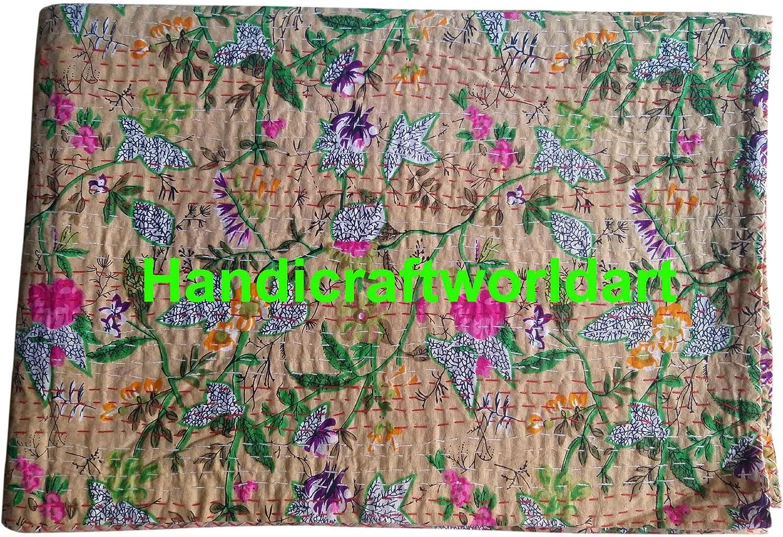 Throw Kantha Bedspread Black, 60 X 90 Inches - Twin HandicraftworldArt King//Twin Size Indian Handmade Vintage Decorative Kantha Reversible Quilt Coverlet Hand Stitch Bohemian Bedding Sunflower