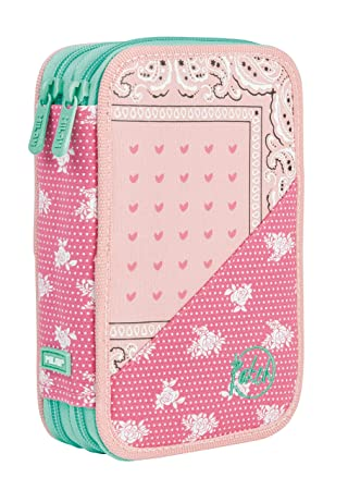 Estuche Escolar MILAN Patch Rosa, Doble Cremallera: Amazon ...