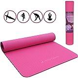 Malaika | tappetino per yoga e fitness, tappetino per sport | per yoga, pilates, allenamento funzionale ecc. | incluso cinturino di fissaggio, antiscivolo, ecologico | in rosa | 183 x 61cm