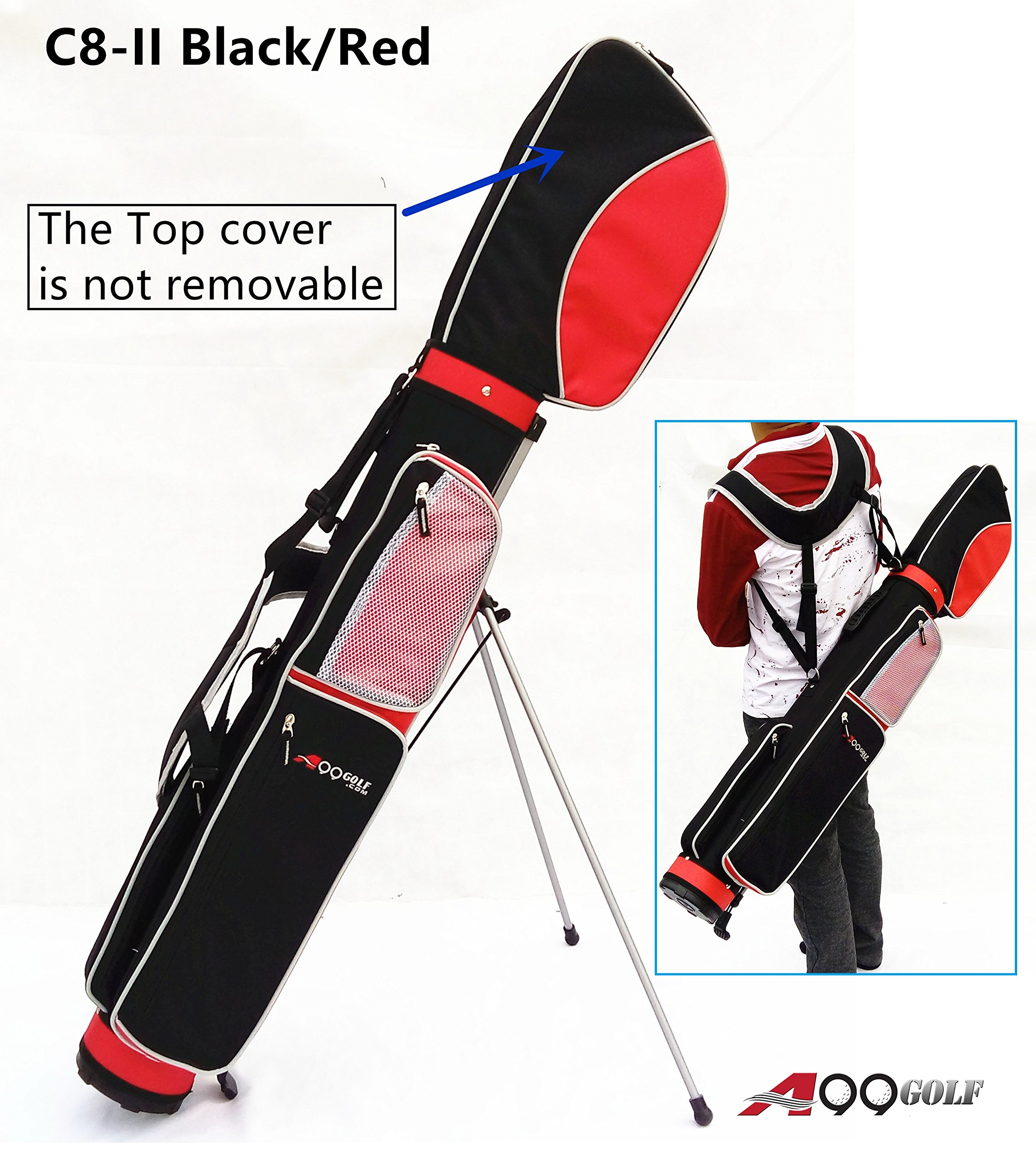 C8-II Golf Practice Range/Sunday/Stand/Pencil/Carry Bag (Red/Blk + 1pc Zerofy Counter) by A99 Golf