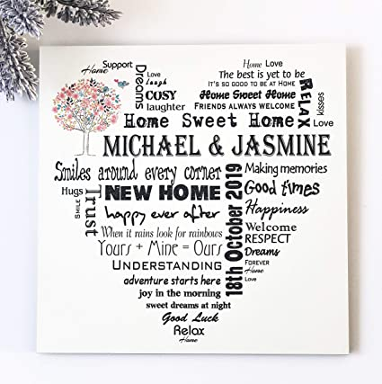 Missyjulia Ltd First Home Wooden Plaque New Home Gift Housewarming Personalised Gift Custom Text Wall Decoration Amazon Co Uk Kitchen Home