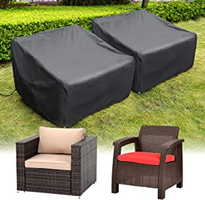 HIRALIY Patio Chair Covers, 2 Pack Waterproof Outdoor Lounge Deep Seat Furniture Cover, Heavy Duty Single Wicker Garden Sofa Chair Cover 35